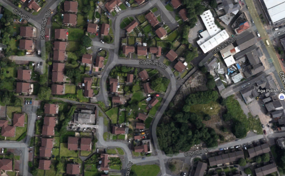 The scene at St Helier's Drive - Google Maps