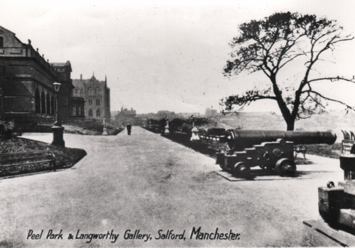 View of Peel Park and Langworthy Gardens showing the long-lost cannons © Salford.Photos