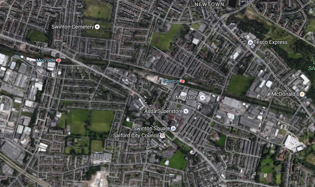 Scene of the crash in Swinton - Google Maps