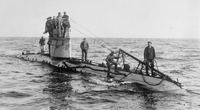 German submarine crew aboard the smaller UC boats